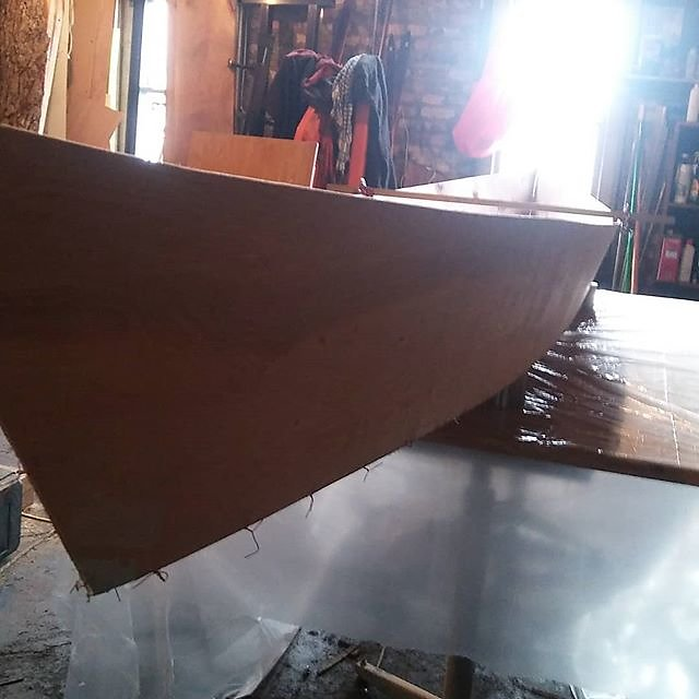 stitched and glued in class today! Ladies and gentlemen, we have a pretty fair hull. This is going to be one beautiful and responsive boat from the Learning Curve Canoe School. @sitsionatah #smallshop #makersgonnamake #learningandteaching